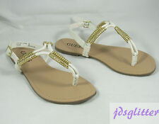 GUESS Sami White w/ Gold Wrapped T-Strap Logo Thong Sandals NWT