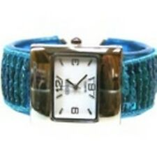 Women's Cuff Fashion Watch by Geneva Rectangle Face Silver Tone Blue Sequins