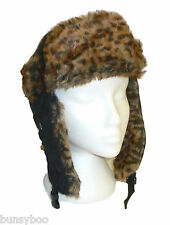 NEW Ladies Leopard Print Trapper Hat Animal Fur Trim Russian Trooper Winter Hat