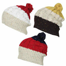 X89 LADIES RETRO FUNKY MULTI COLOUR LONG BAGGY OVERSIZE SLOUCH SKI BEANIE HAT