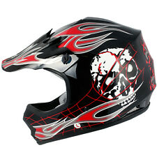 TMS Youth Black/Red Skull Flame Off-Road Motocross Helmet ATV~S/M/L