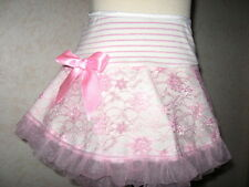 NEW Girls Cream,Pink Floral lace frilly Skirt,Goth,Rock,Party,Gift,dance,present