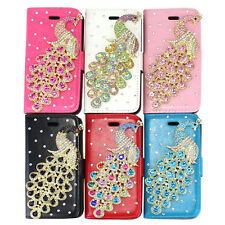 For iPhone 5G 5S Lovely Bling Peacock Diamond Leather Wallet Case Cover Stand