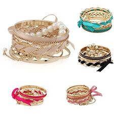Lady Gold Plated Multilayers Faux Pearl Woven Ribbon Bowtie Bangle Lace Bracelet