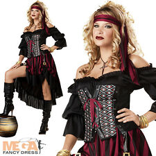 Deluxe Pirate Wench Ladies Fancy Dress Halloween Womens Costme Outfit UK 6-14
