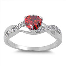 Sterling Silver Ring - Heart Shaped CZ Stone - RC104863-GN