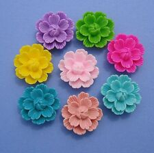 Resin Flower Cabochon Flat Back Round Vintage Style Colorful 27x11mm.