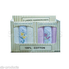 NEW PACK OF 3 OR 6 LADIES/WOMENS HANDKERCHIEFS 100% COTTON FLORAL EMBROIDERE
