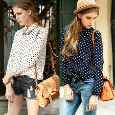 4 COLOR Vintage Womens Polka Dots Print Chiffon Long Sleeve Tops T-Shirt Blouse