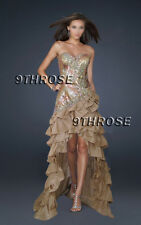 THE ULTIMATE GLAMOR! BEADED GOLD HIGH-LOW EVENING/FORMAL/PROM/BRIDESMAID DRESS