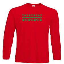 Classic Christmas Pattern Red Long Sleeve T-Shirt present gift aztec ALL SIZES