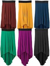 NEW HIGH/LOW PLEATED Flowing HI LO MAXI SKIRT S/M/L~6 COLORS!~NWT Free Shipping!