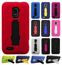 For Boost Mobile Warp 4G ZTE N9510 Impact Hard Rubber Case Cover Kick Stand