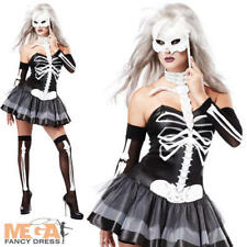 Sexy Skeleton Masquerade + Mask Ladies Halloween Fancy Dress Womens Costume