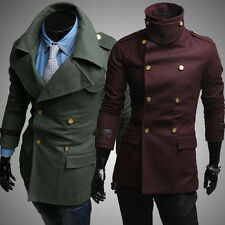 Men's Thermal Military Wool Jackets Coats Epaulet Double Breasted Parka Overcoat