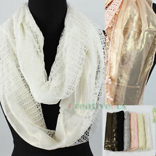 Stylish Women's Lace Floral Knit Nets Sequins Tassel Long Scarf Shawl Wrap Stole