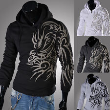 Tops Designed New Fleece Warm Men's Slim Fit Dragon Cool Hoodies Coat Size XS~L