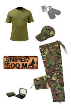 Kids Pack 6 Army Camo Fancy Dress Children's Soldier Outfit ( Shirt Pants Sign