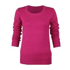 FUSCHIA HOT PINK ROUND CREW-NECK LONG SLEEVE SMART JUMPER TOP SWEATER SIZE 8-20