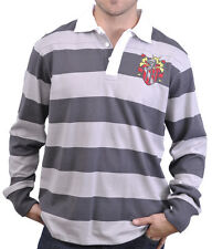 The Hundreds Streetwear Striped Crest Logo Long Sleeve Polo Shirt Charcoal Grey