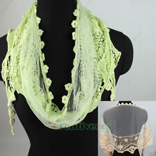 Embroidery Flower Tulle Lace Trim Dot Mesh Plum Flower Tassel Triangle Scarf New