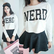 Top Womens Fashion Cropped Tops Letter NERD Print Sweater Long Sleeve Blouse