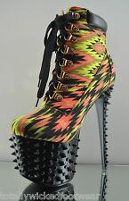 Red Kiss Lamb Yellow Tribal Pattern Black Spiked Platform Heel Ankle Boot 6-11