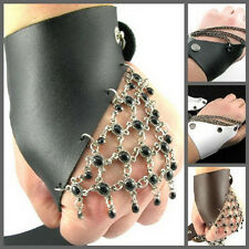 UW20 NEW Fingerless Pair Women/Lady Leather Glove Beads/Chain Dance Punk Party