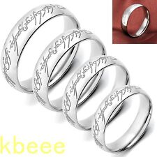 Fashion Silver Lord of the Rings Stainless Steel Mens Women Band Ring us8-us11