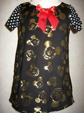 Goth Baby Girls Black,gold,white,red Micky Mouse,Stars Jersey Dress Headband set