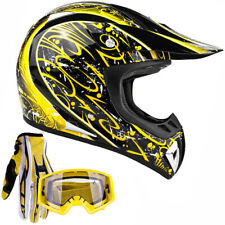 Adult Motocross Helmet with gloves and goggles Yellow dirt bike MX Off Road ATV