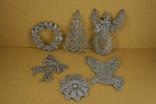 5 PACK One Style SILVER GLITTER Christmas FLAT Ornament CHOOSE From 6 STYLES