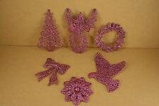 5 PACK One Style PINK GLITTER Christmas FLAT Ornament CHOOSE From 6 STYLES