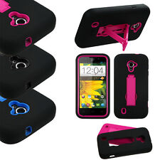 For ZTE Majesty 796C IMPACT Hybrid Rubber Case Kickstand Phone Cover Accessory