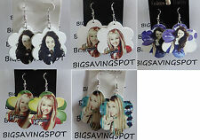 Cut out wooden floral shape w HANNAH MONTANA picture on it dangling hook Earring