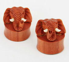 Pair Elephant Head Design Double Flare Flesh Tunnel Sawo Wood Ear Gauges NOG-141