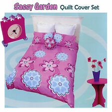 SASSY GARDEN Pink Blue Quilt Doona Duvet Cover Set - SINGLE DOUBLE QUEEN