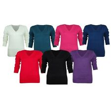 LADIES V-NECK LONG SLEEVE WOMENS SMART JUMPER TOP SWEATER SIZES 8-20