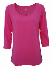 Womens H&M T-Shirt Scoop Neck 3/4 Sleeve Top Salmon Pink Size 14 to 28 Ladies