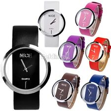 Lady Women Colorful Leather Transparent Dial Succinct Sport Wrist Watch Gift BE0