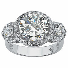 Palmbeach CZ Platinum over Silver Clear Prong-set Cubic Zirconia Ring
