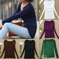 Women Casual Long Sleeve Scoopneck Round Collar Solid Thicken Top Blouse T-Shirt