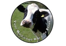 Edible icing cake toppers topper round square 24 cupcake - dairy farm cow