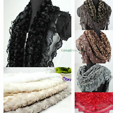 3D Rose Plush Faux Fur Triangle Floral Lace Ruffle Trim Warmer Gorgeous Scarf