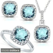 Dolce Giavonna Silver Blue Topaz or Amethyst and 1/8ct TDW Diamond Jewelry Set (