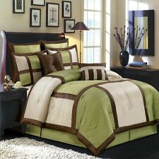 12pc Sage/Chocolate/Ivory Patchwork Comforter & Sheet Set Full Queen King CKing