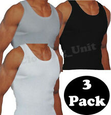 New Mens 3 Pack Fitted Vests  Pure Cotton Gym Top Summer Training