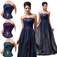Long Celebrity Women's Sequins Chiffon Gown Ball Party Formal Prom Evening Dress