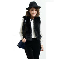 Ladies Fashion Faux Fur Waistcoat Vest Coat Outerwear Gilet Cream Black 8 10 12