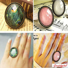 Retro Adjustable Peacock Feather Cuff Rhinestone Bronze Oval Ring for Girl